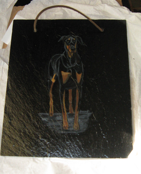 doberman-slate painting by Angie Jordan