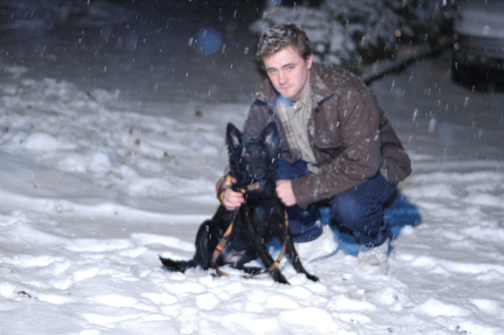 Zoe and JT in the snow 2008