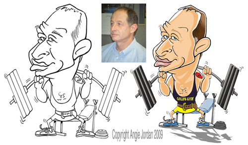 Cartoon of body builder by Angie Jordan