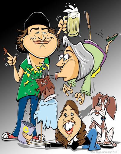Caricature of 3 by Angie Jordan 2009