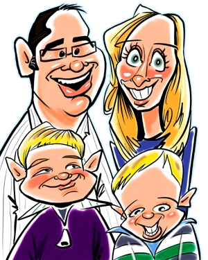 Digital caricature family of 4 by angie jordan
