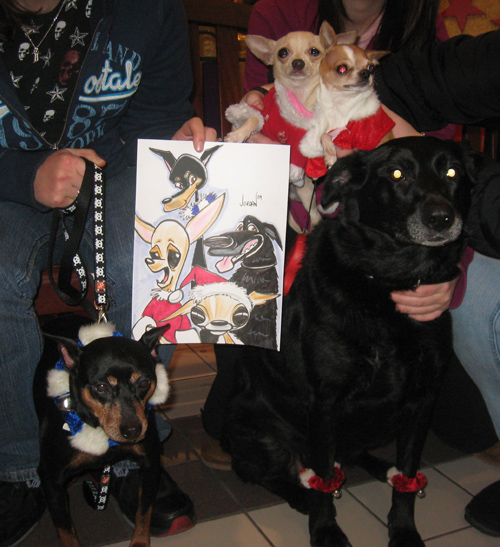 Holiday Pet Caricature by Angie Jordan