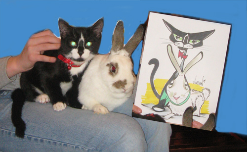 Cartoon Cat and Bunny by Angie Jordan