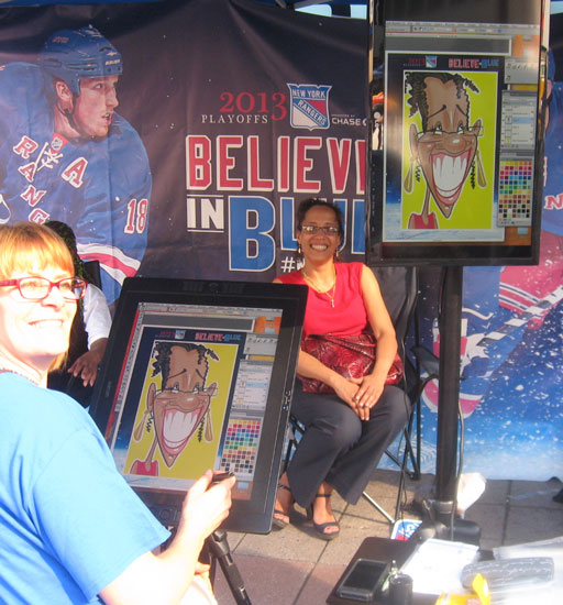 Angie Jordan's captivates a crowd with digital caricatures at the NYC Rangers Event!