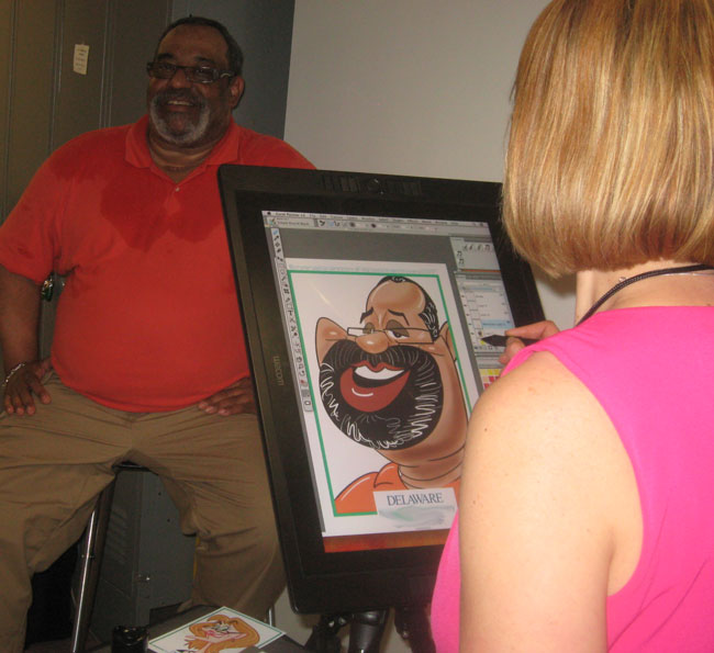 Angie capturing the personality of a person and into her award winning cartoon style!