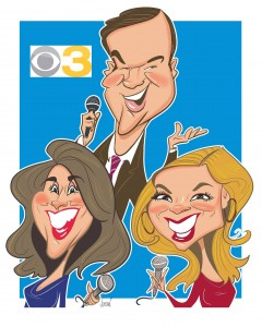 Angie Jordan's digital cartoon of the cast of Philly CBS 3