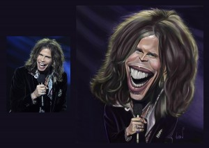 Digital painted Caricature by Angie Jordan Steven Tyler - Aerosmith