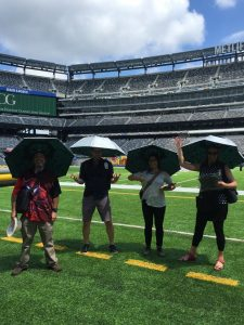 Strolling digital artists at the Metlife stadium near NYC