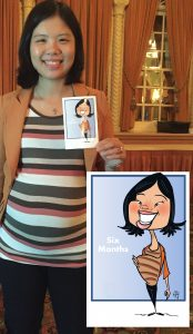 Angie capturing her first baby girl in cartoon style!